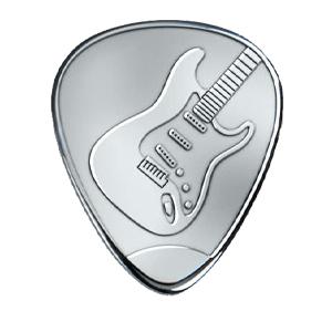 Silbernes Gitarrenplektrum - Strat