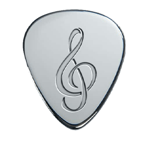 Silbernes Gitarrenplektrum - Musiknote