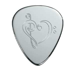 Silbernes Gitarrenplektrum - Herz