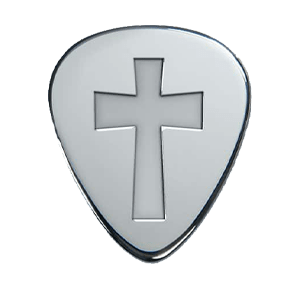 Silbernes Gitarrenplektrum - Kreuz